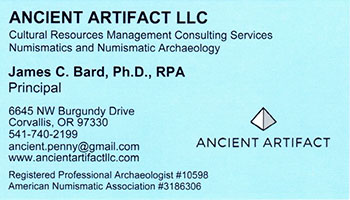 Ancient Artifact business card