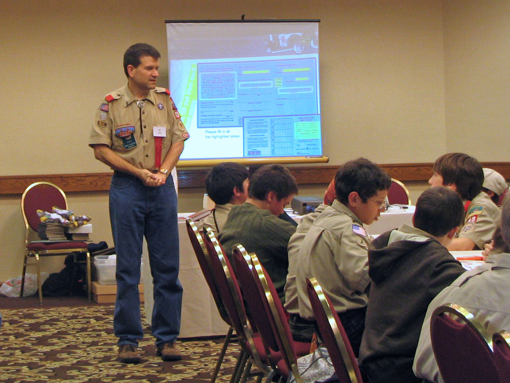 James Reinders conducting Boy Scout coin clinic.