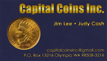 Capital Coins business card