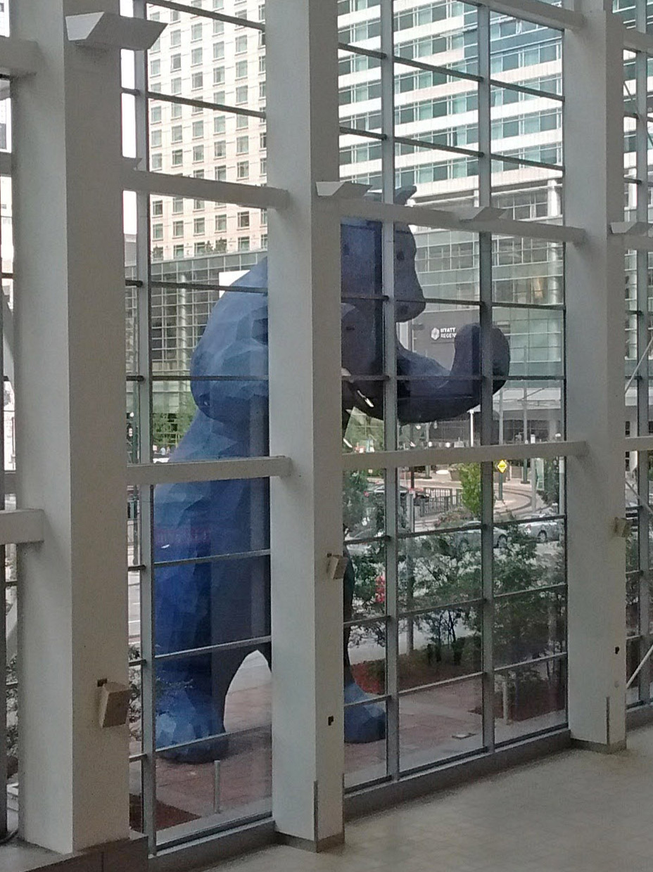 "The ""Big Blue Bear"" outside the Colorado Convention Center in Denver."