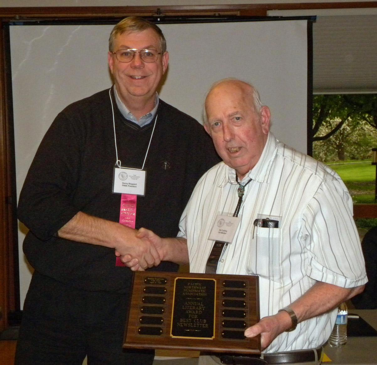 Del Cushing/BECC - 2013 literary award for club newsletter