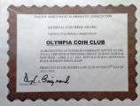 Olympia Coin Club certificate (2013)