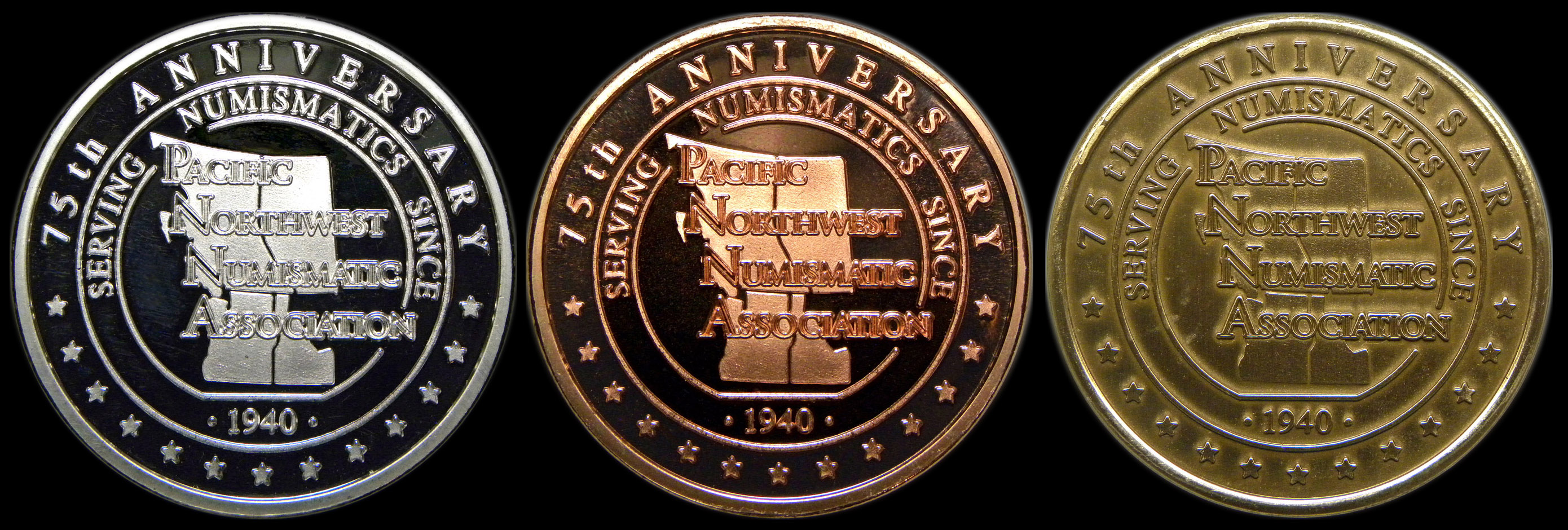 c1510 threemedal set in boxhinged case 39 mm pnna 75th anniversary medal the obverse of the medal was designed by former us mint